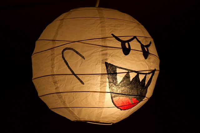 BOO! ghost from Super Mario Brothers video games. Doodle his creep face on a paper lantern from IKEA, and BAM, awesome nerd lighting for your living room.