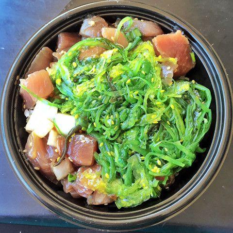 Da Poke Shack in Kawaihae, Hawaii shoyu poke bowl with ocean salad and rice