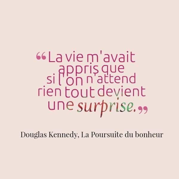 Douglas Kennedy, La Poursuite du Bonheur, un de mes livres préférés, écrit par un de mes auteurs préférés !!! Juste un pur plaisir...