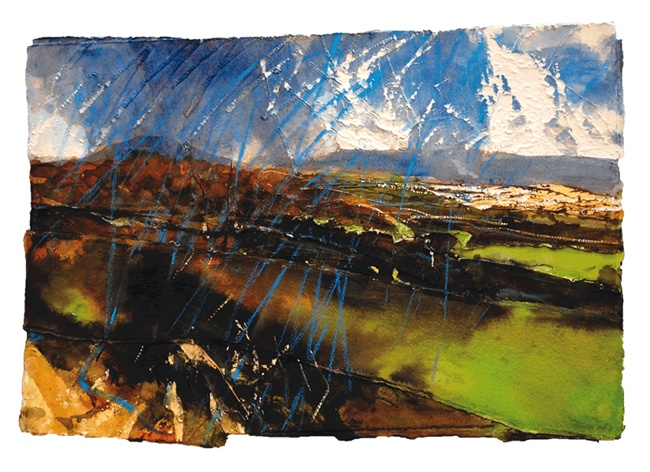 David Tress  'The Black Mountains (Rain in the Wind)' Mixed Media on Paper 41 x 60 cm.