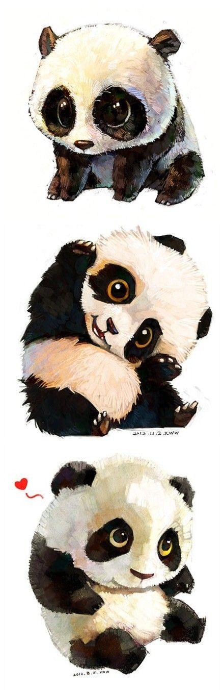 雪娃娃手绘治愈系水彩动物插画。 熊猫一组...