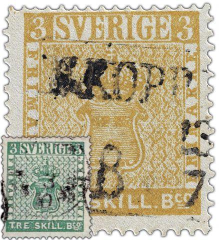 """Die Tre Skillin Banco, ein Farbfehldruck, ist eine der teuersten und seltensten Briefmarken der Welt und hatte berühmte Besitzer, die schwedische Rarität erzielt auf Auktionen höchste Preise und streitet sich seit jeher um den Titel der """"teuersten Briefmarke der Welt"""" mit der """"British Guiana One Cent"""""""