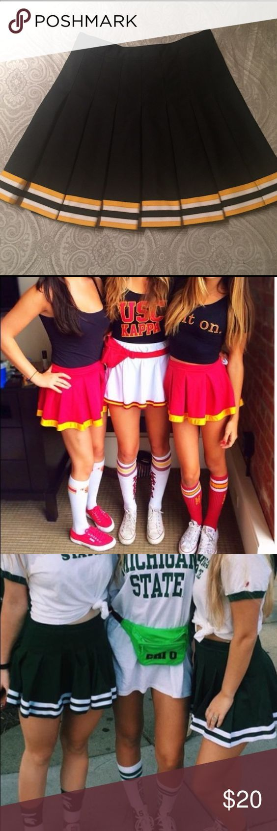 Taylor Nixon- The cheerleading skirts have become a popular trend for football game attire. The classic cheerleading skirts have been seen worn at all the top tailgates and seemingly an iconic piece to your game day outfit. You are most  likely to see these skirt matched with a diy football tank and some high knee socks.