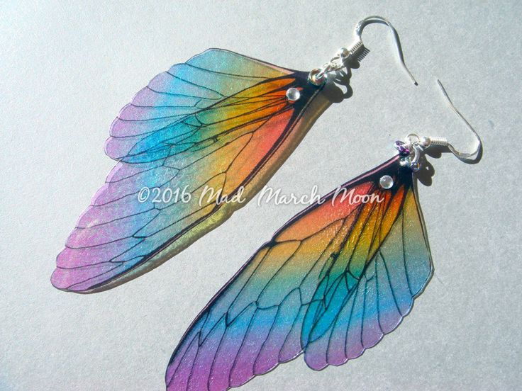 Rainbow Fairy wing earrings, iridescent cicada style with sterling silver ear wires, latch back and clip on version available by MadMarchMoon on Etsy https://www.etsy.com/listing/203153437/rainbow-fairy-wing-earrings-iridescent