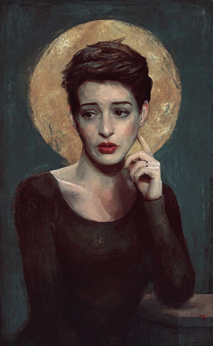 """Anne Hathaway"" - Sam Spratt, Photoshop {contemporary figurative art beautiful female head celebrity actress woman face portrait grunge digital painting #loveart} samspratt.com"
