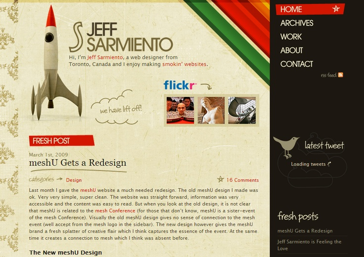 Vintage website inspiration : http://www.jeffsarmiento.com/