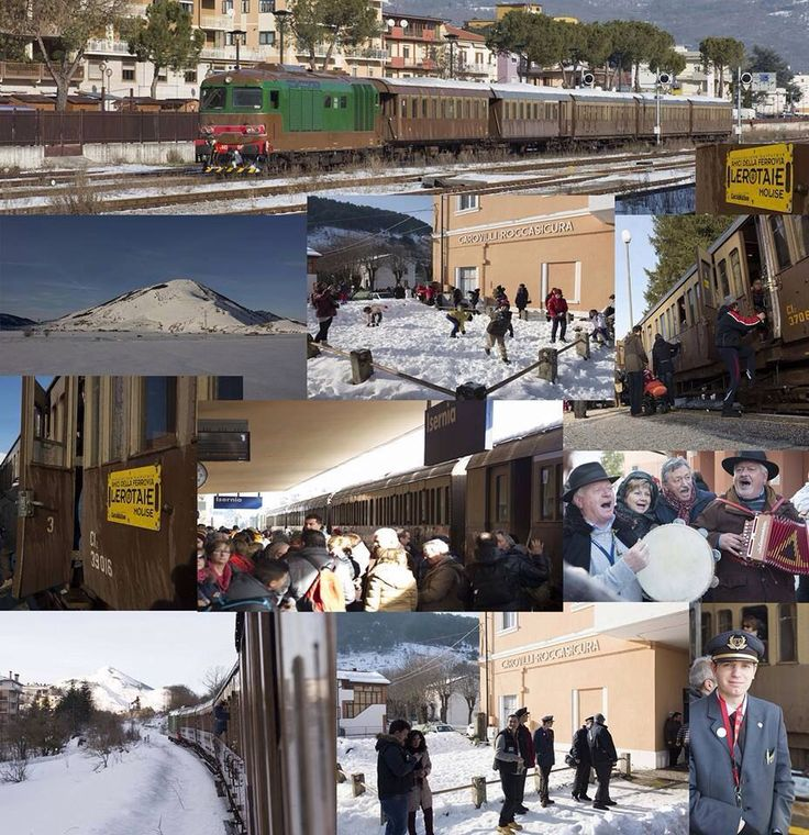 Collage of Massimo Palmieri for Il Treno del Presepe of Campo di Giove 03.01.2015  Isernia-Campo di Giove Stop at Carovilli train station