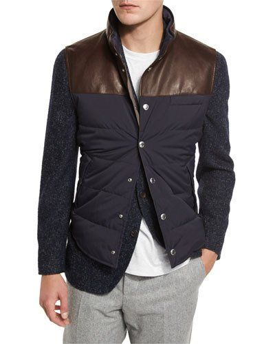 Brunello+Cucinelli+Quilted+Nylon+Leather+Vest+Navy+|+Clothing