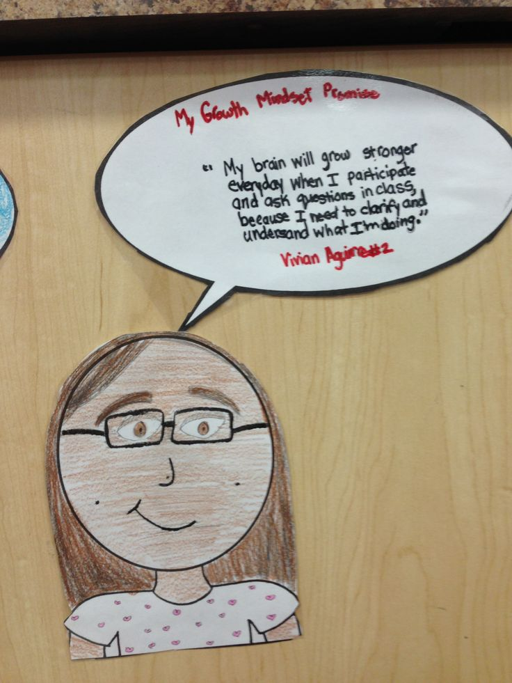 Growth Mindset commitments. Students created a picture of themselves and wrote down their commitments on a speech bubble.