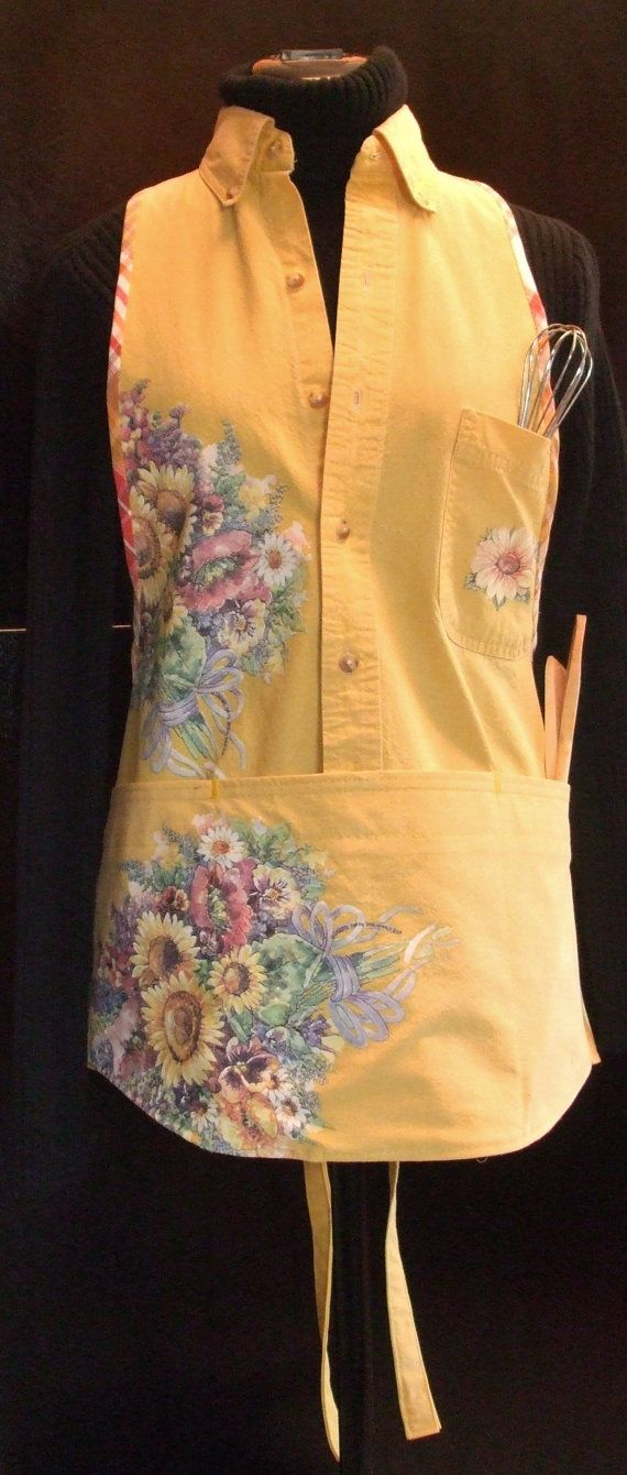 Apron from a men's up-cycled yellow shirt with by BeyondtheFringe