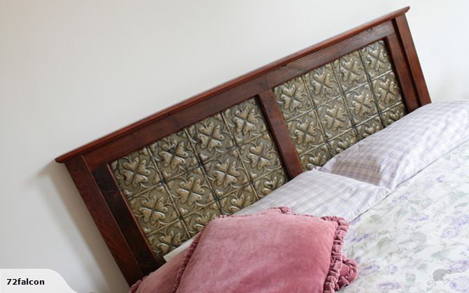 Our #spades #Pressedtinpanels used in this existing bedhead with an 'antiqued' paint effect