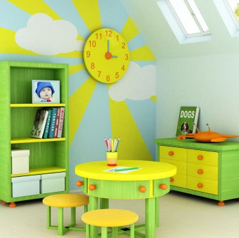Happy Sunshine room with a big analog clock which is great for learning to read time
