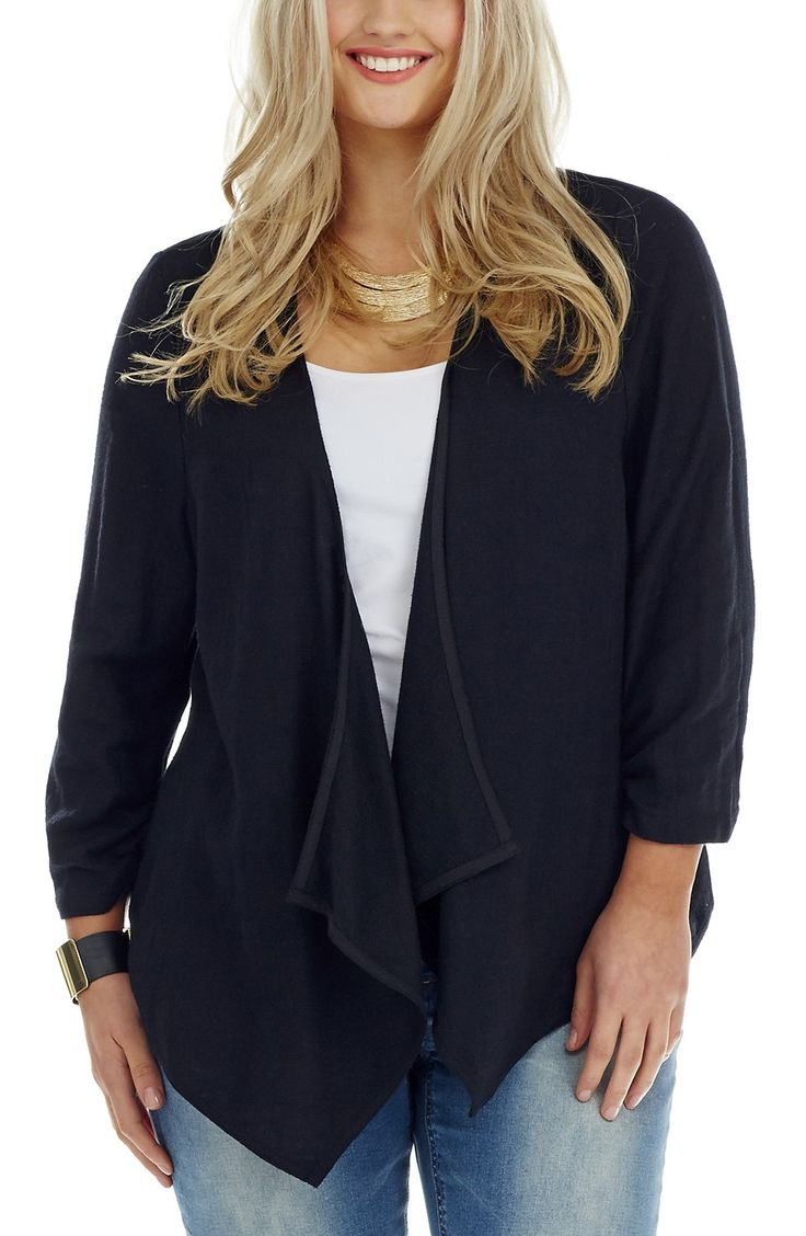 Lace Back Detail Jacket - Black -  Style No: JK11137 Cotton Linen Blend Jacket. This Jacket has a waterfall Front lapel with a stunning lace panel on the back. It features 3/4 length sleeves that have a ruched finish at the cuff. #dreamdiva #dreamdivefiles #fashion #plussize