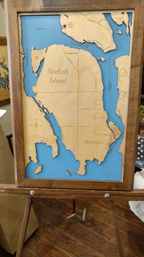 Neebish Island Michigan Wood Laser Cut
