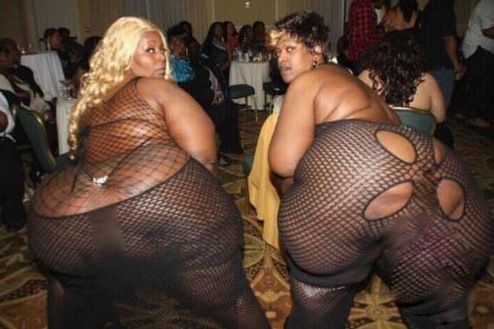 Banquet Room and Party. Two Girls. Two Big Butts. - Fashion Fail ---- funny pictures hilarious jokes meme humor walmart fails