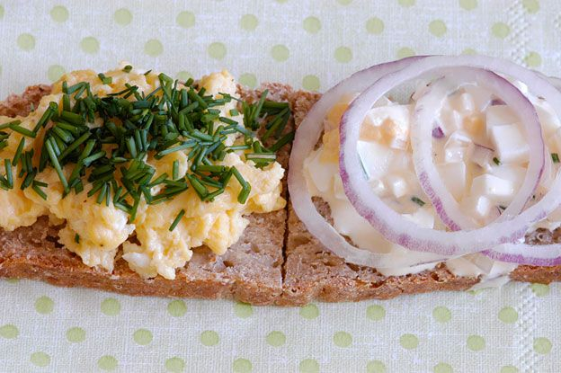 Open sandwich with egg salad and scrambled eggs