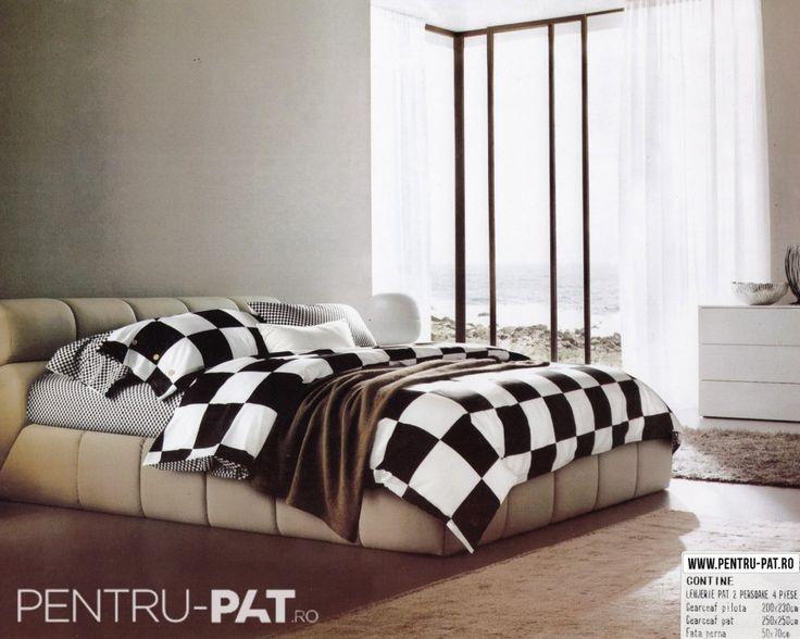 Lenjerie de pat bumbac dublu satinat de lux Casa New Fashion cu patratele