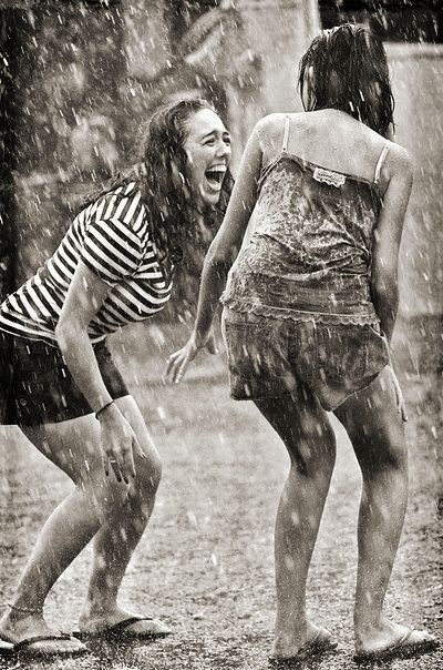 Best friends joy under the rain