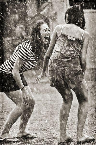 Best friends joy under the rain