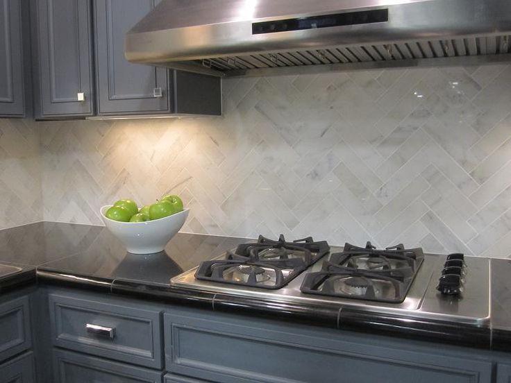 Kirsty Froelich: The Tile Shop - Hampton Carrara marble backsplash herringbone pattern detail