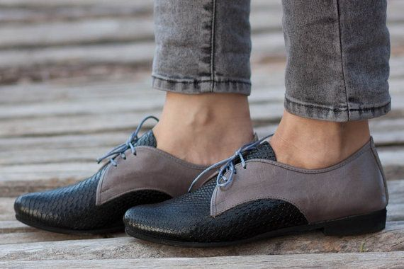 Black Leather Shoes Black Oxford Shoes Black and Grey by BangiShop