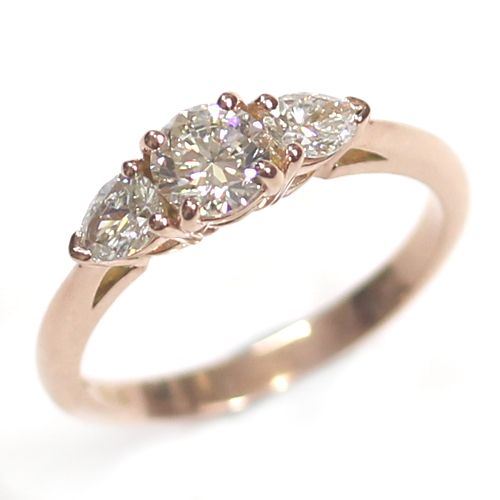 14ct Rose Gold Diamond Trilogy Engagement Ring.Bespoke Jewellers, Leeds, Yorkshire, UK