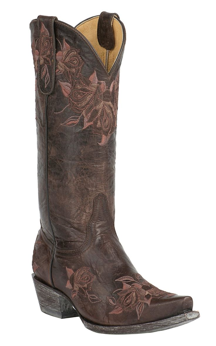 Old Gringo Yippee Ki Yay Women's Abrill Chocolate with Pink & Brown Floral Embroidery Snip Toe Western Boots | Cavender's