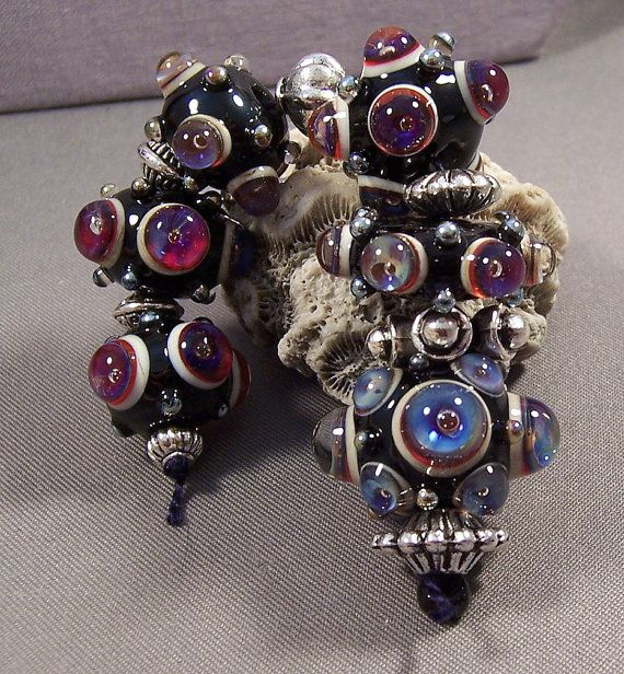 Handmade Lamp work Beads by MonasLampwork  Royal by MonasLampwork, $49.00