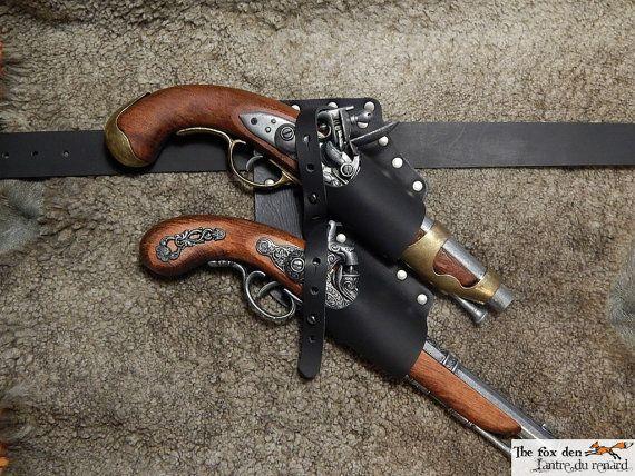 Pirate en cuir ceinture double holster pour pistolet à silex
