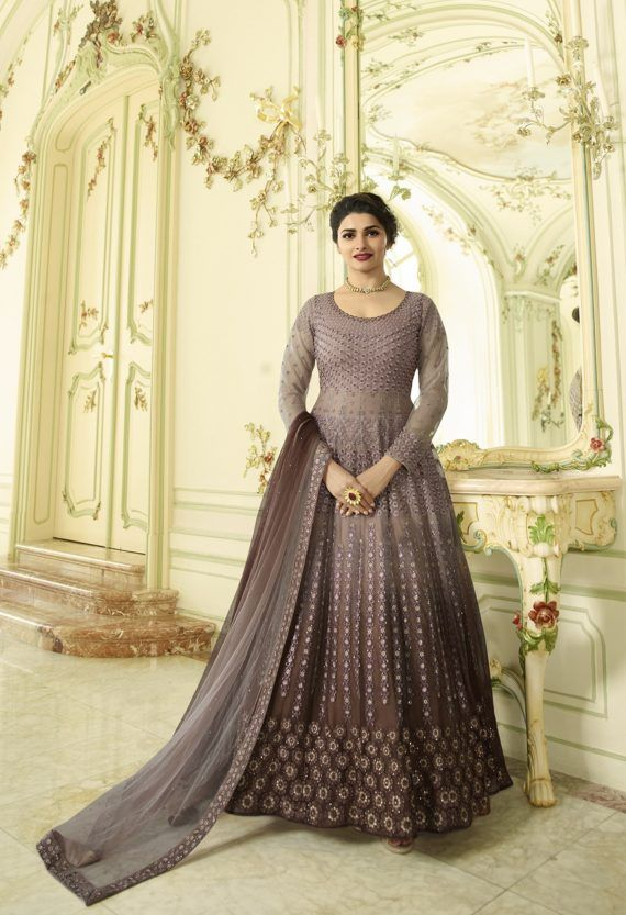 e47bb80aa5 Chocolate Heavy Embroidered Gown Top Net Bottom Santoon Beautiful Net  Dupatta With Work. Complete With Zari, Thread and Stone Work