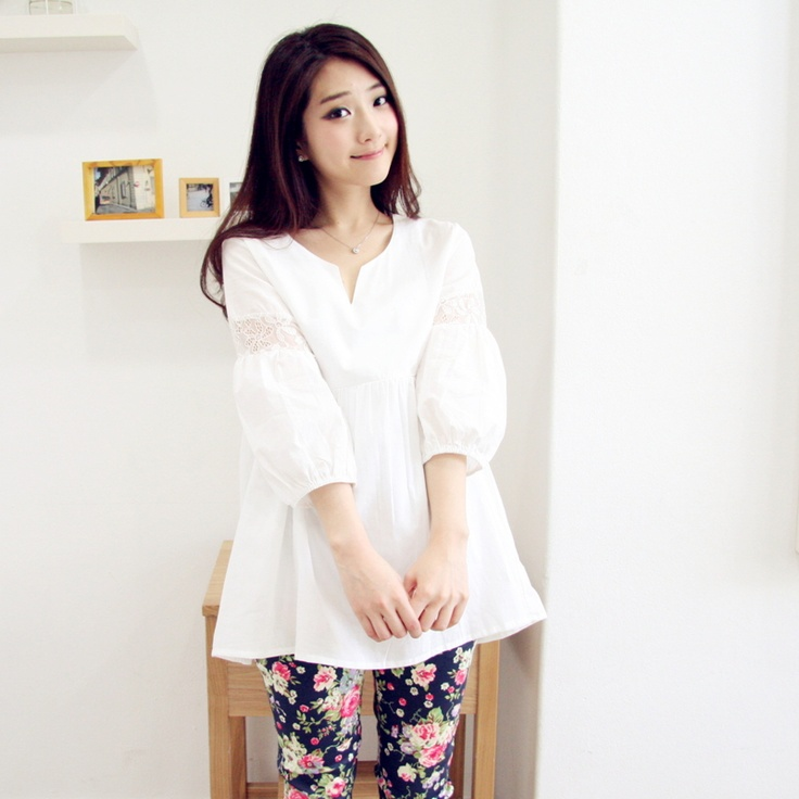 Fight lace blouse sleeve mam my zone Ivor Strip Korea maternity clothes spring summer fashion new Korean version of 415