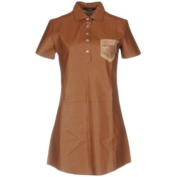 Nineminutes Short Dress ($150) ❤ liked on Polyvore featuring dresses, brown, short dresses, brown shirt dress, long shirt dress, brown lace dress and lace shirt dress