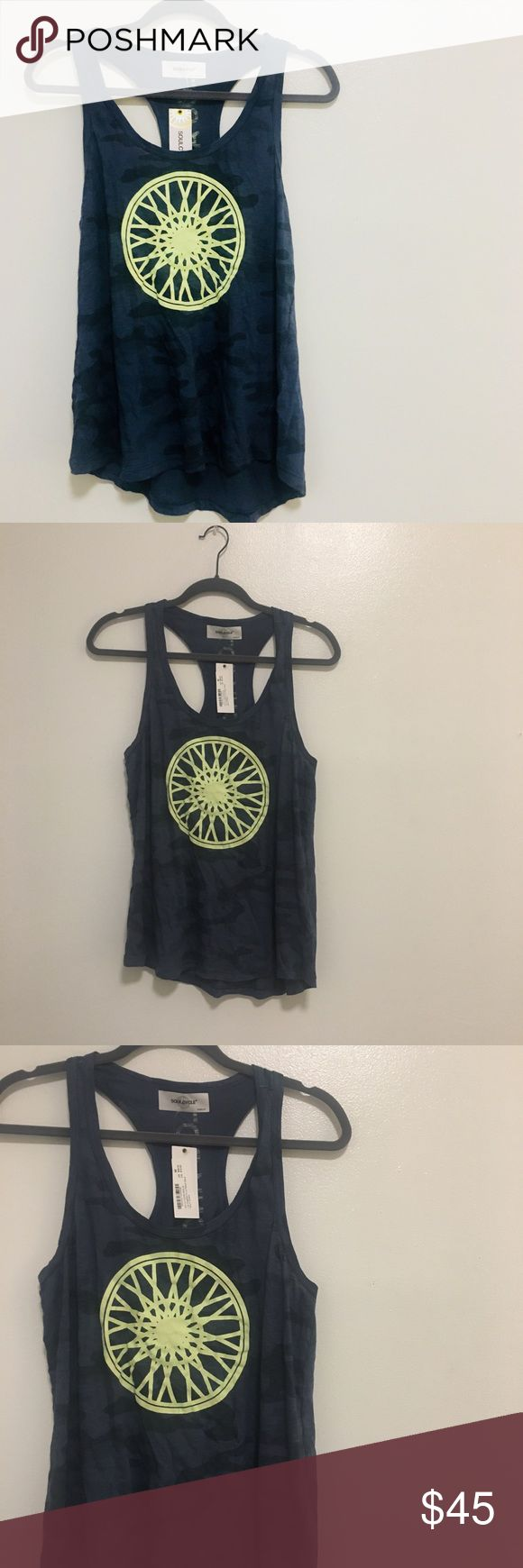 // NWT SoulCycle Navy Camo LA Tank Top new with tags navy blue camo tank top with yellow soulcycle wheel. back of the tank says Los Angeles. perfect workout tank! soulcycle Tops Tank Tops