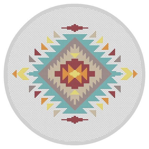 Modern cross stitch pattern Navajo cross stitch Indian by Xrestyk