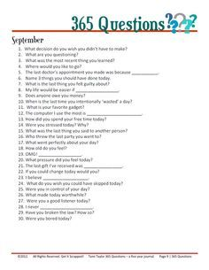Journal Jar prompts- September 365 Questions