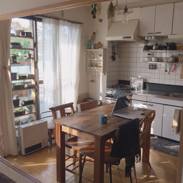 キッチン ダイニングテーブル テーブル 2dk 賃貸 賃貸アパート などのインテリア実例 2017 11 09 22 12 46 Roomclip ルームクリップ せまい リビング アパートのインテリア インテリア