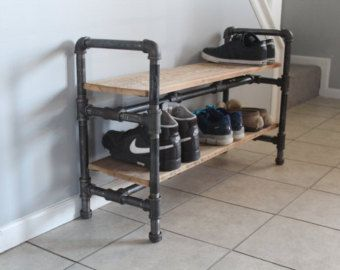 """Shoe rack made from reclaimed barn wood and industrial gas pipe - 2 shelf shoe storage - 36""""Lx15""""Wx18""""H"""