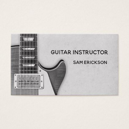 guitar instructor business business card - black and white gifts unique special b&w style