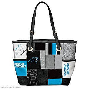 If you're packed with team pride for the NFL's Carolina Panthers, it's easy to show off your loyalty with this stylish tote bag