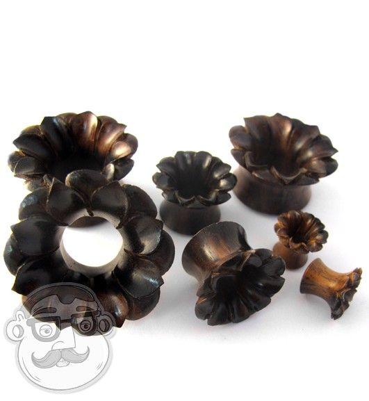 Lotus Flower Sono Wood Tunnel Plugs (0G - 1 Inch) | UrbanBodyJewelry.com
