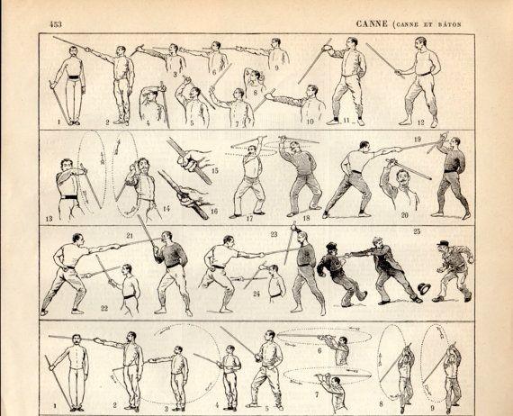 Combattimento con il bastone Canne de combat antica stampa
