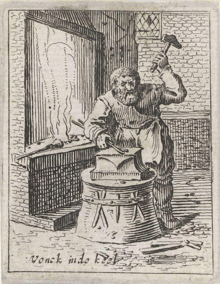 Gillis van Scheyndel (I) | Smid, Gillis van Scheyndel (I), Salomon Savery, 1638 | In een smederij bewerkt een smid met een hamer een stuk ijzer op een aambeeld. Naast hem een haard. De prent maakt deel uit van een serie van 32 prenten met genretaferelen.