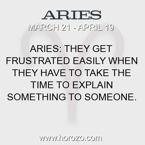 Fact about Aries: Aries: They get frustrated easily when they have to take... #aries, #ariesfact, #zodiac. Astro Social Network:  https://www.horozo.com  Fresh Horoscopes:  https://www.horozo.com/daily-horoscope  Tarot Card Readings:  https://www.horozo.com/tarot-cards  Personality Test:  https://www.horozo.com/personality-type-test  Chinese Astrology:  https://www.horozo.com/chinese-horoscopes  Zodiac Compatibility:  https://www.horozo.com/partner-compatibility-by-zodiac-signs  Meanings of…