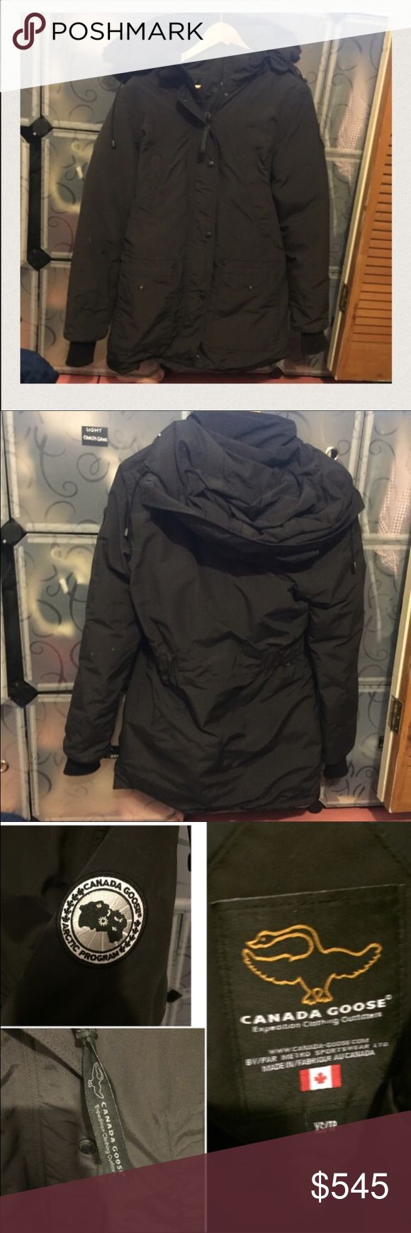Canada goose trillium parka black XS jacket Only worn a few times. In great condition. Retails $900. Price negotiable but please be reasonable and do not lowball. Poshmark offers free authentication concierge service on anything over $500 so don't worry about its authenticity. It will have to be approved by poshmark before shipping to you. Canada goose trillium parka black XS Canada Goose Jackets & Coats