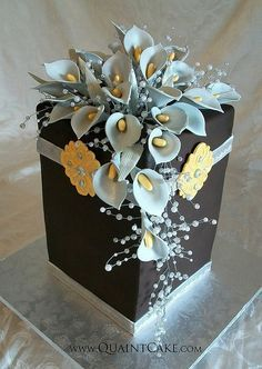 Calla Lily Cake - black & powder blue. Not so sure if this cake is meant to be eaten...