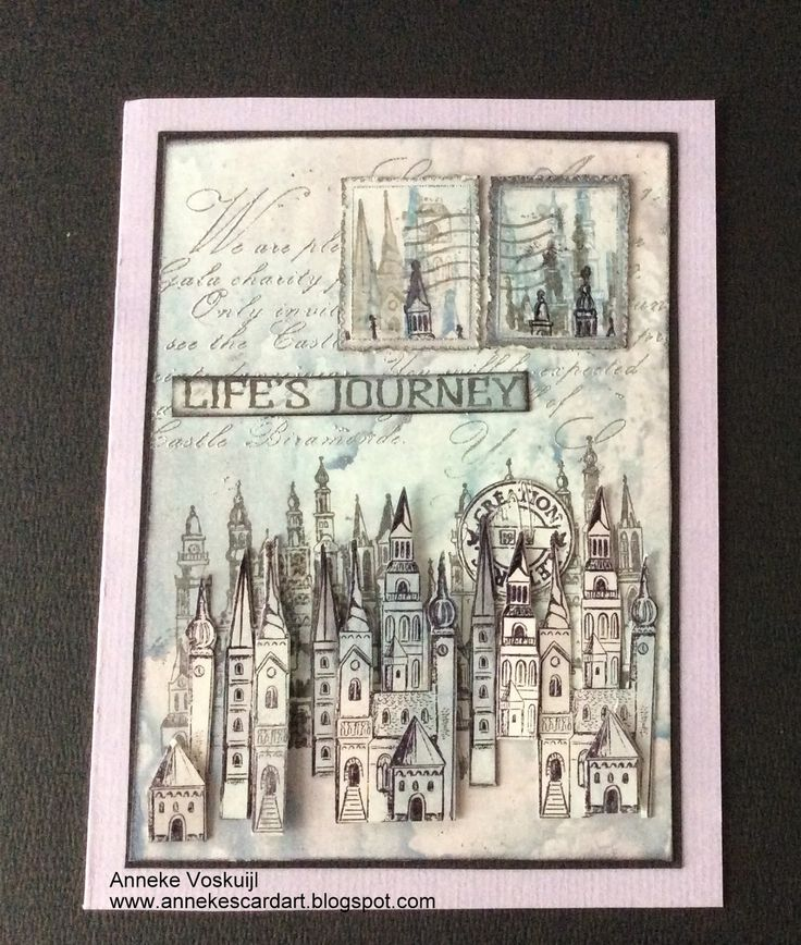 Art Journey Design-team: Houses and towers.  This type of design could also be used on a card front.