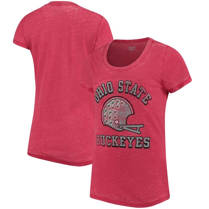 Ohio State Buckeyes Women's Home Run Burnout T-Shirt - Scarlet