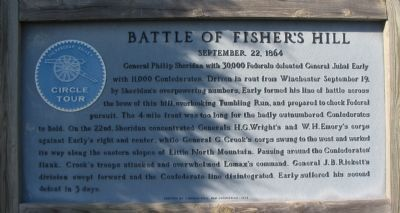 Battle of Fisher's Hill Marker. Click for full size.