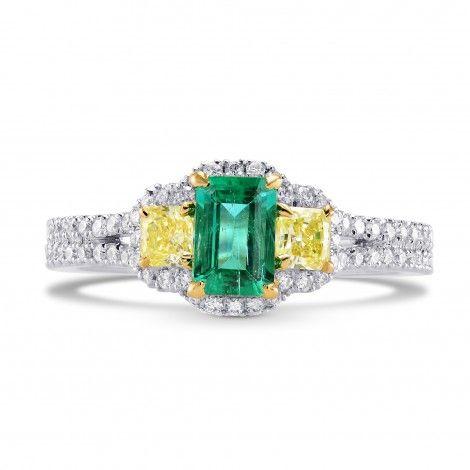 Shop Green Emerald and Fancy Yellow Diamond 3 Stones Ring, SKU 242443 (1.21Ct TW)