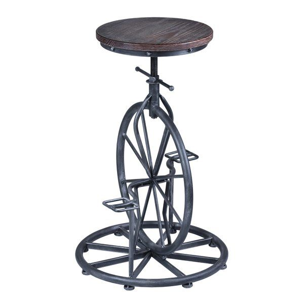 The incredibly unique design of this Adjustable Height Bar Stool provides it with style and a special quality that you won't easily find in other barstool options. The look of an old, vintage styled wheel as a base not only gives the barstool a unique look that will keep your guests talking, but also provides an impressive stability you may not get from another barstool with such a beautiful vintage feel. The old, whimsical style is accompanied by the more modern ability to adjust the height…